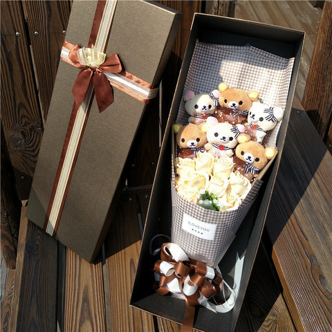 6 Rilakkuma with flowers bouquet Valentine Graduation gifts