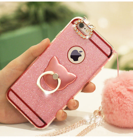 cat ring holder with charm blink iphone case