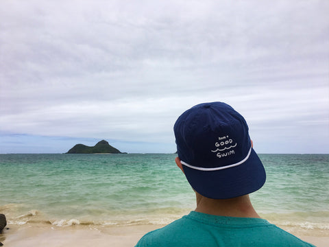 Have a Good Swim - blue 5 panel nylon cap