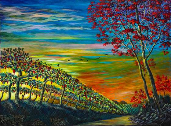 Vineyard original painting by Ford Smith - Wine Flight 36x48