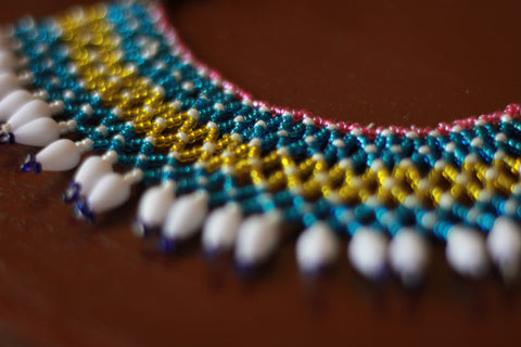 Aqua Tribal Bead Choker / Necklace