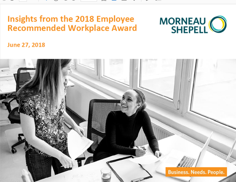 2018 Employee Recommended Workplace Award Benchmarks