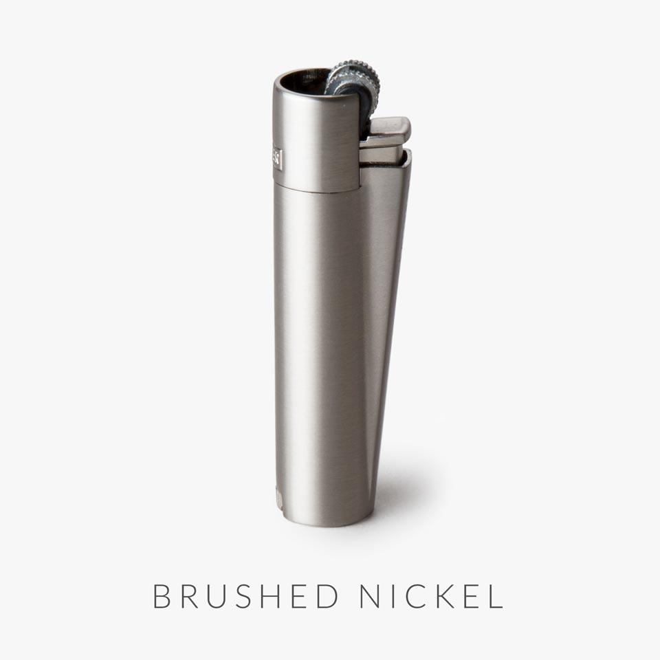 brushed nickel refillable clipper lighter