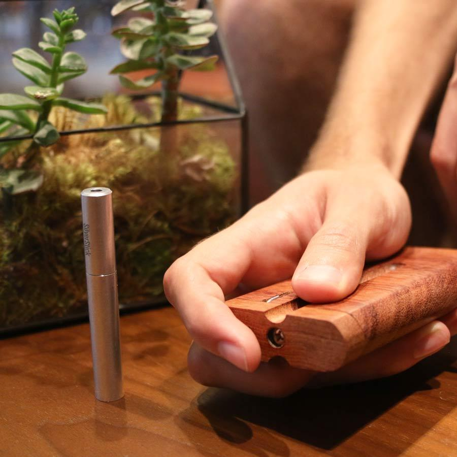bubinga exotic wood dugout with SilverStick one hitter pipe with a filter