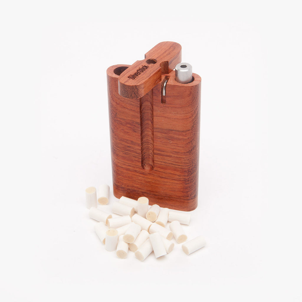 bubinga dugout one hitter box for SilverStick taster pipe with a filter