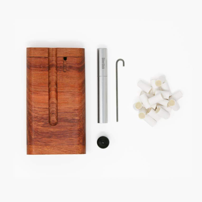 bubinga dugout for SilverStick one hitter taster pipe with a filter