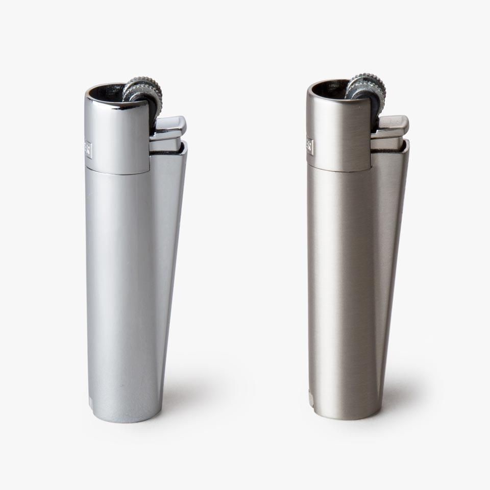 chrome and brushed nickel full metal clipper lighters