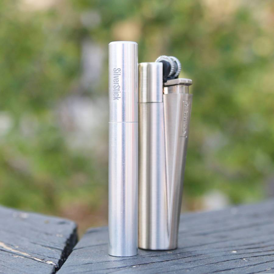 Silverstick one hitter with metal clipper lighter