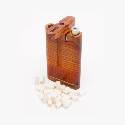 upright cocobolo dugout one hitter box for SilverStick taster pipe with a filter