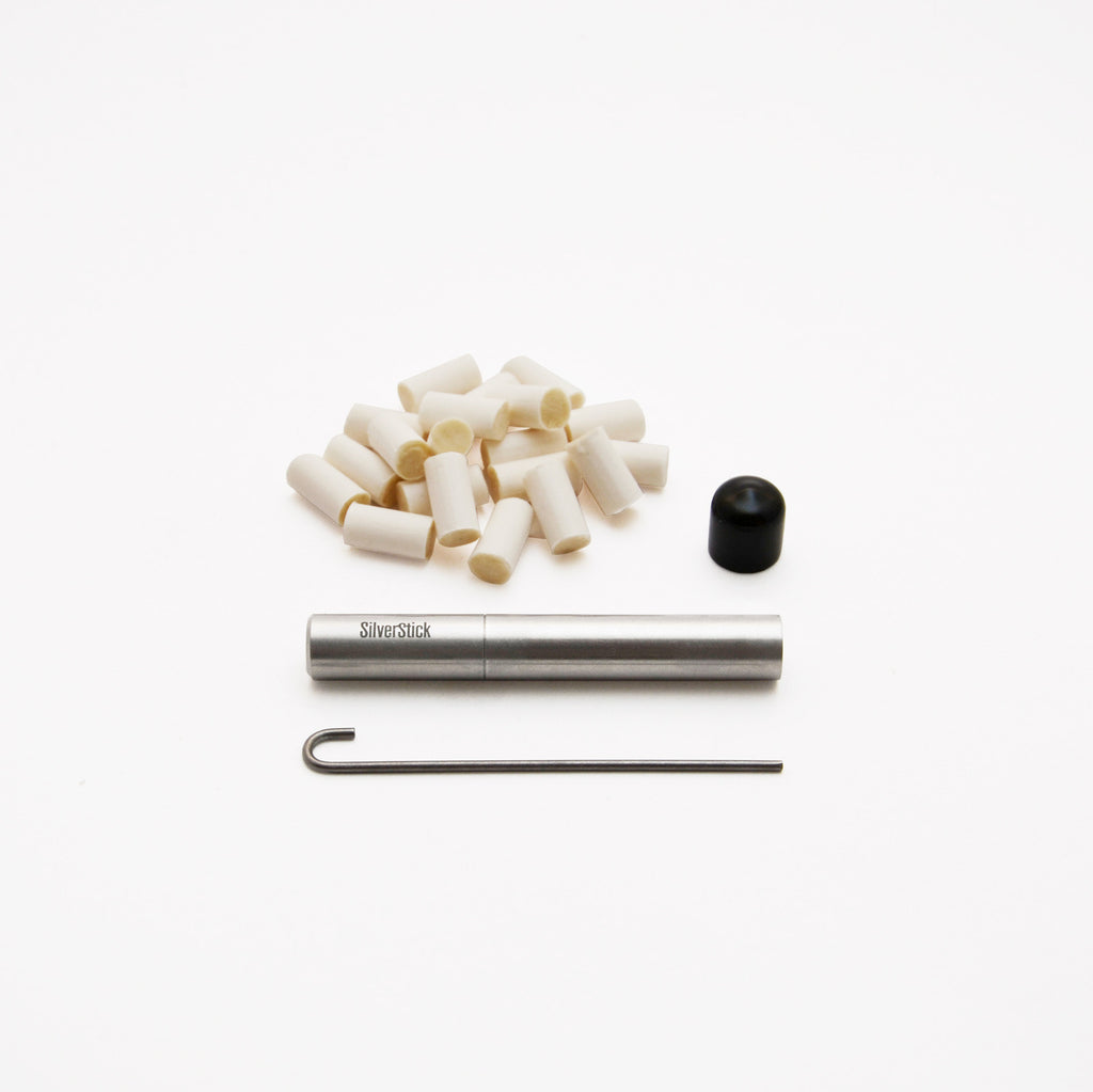 SilverStick one-hitter taster pipe with a filter, cap, poker, and filters