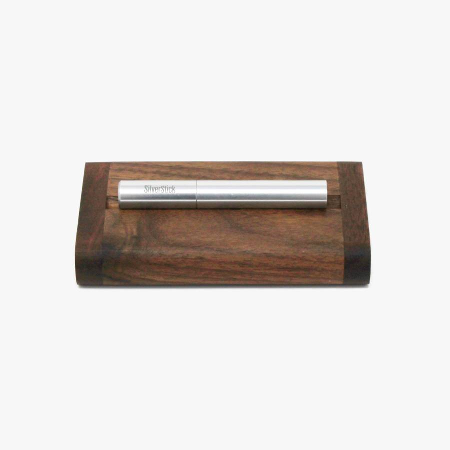 Black walnut tinderbox dugout for SilverStick one hitter taster pipe with a filter