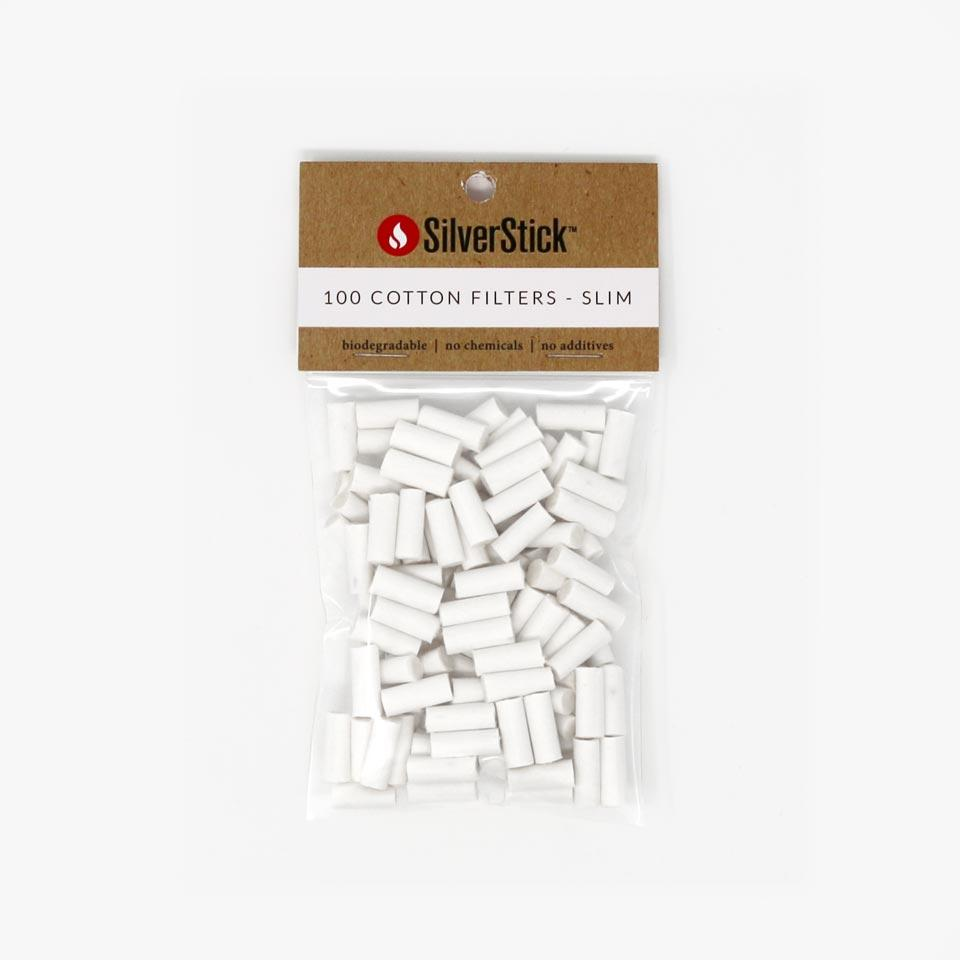 package of 100 natural cotton filters for the SilverStick slim pipe