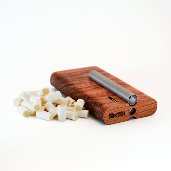 bubinga wood tinderbox dugout for SilverStick metal one hitter with a filter