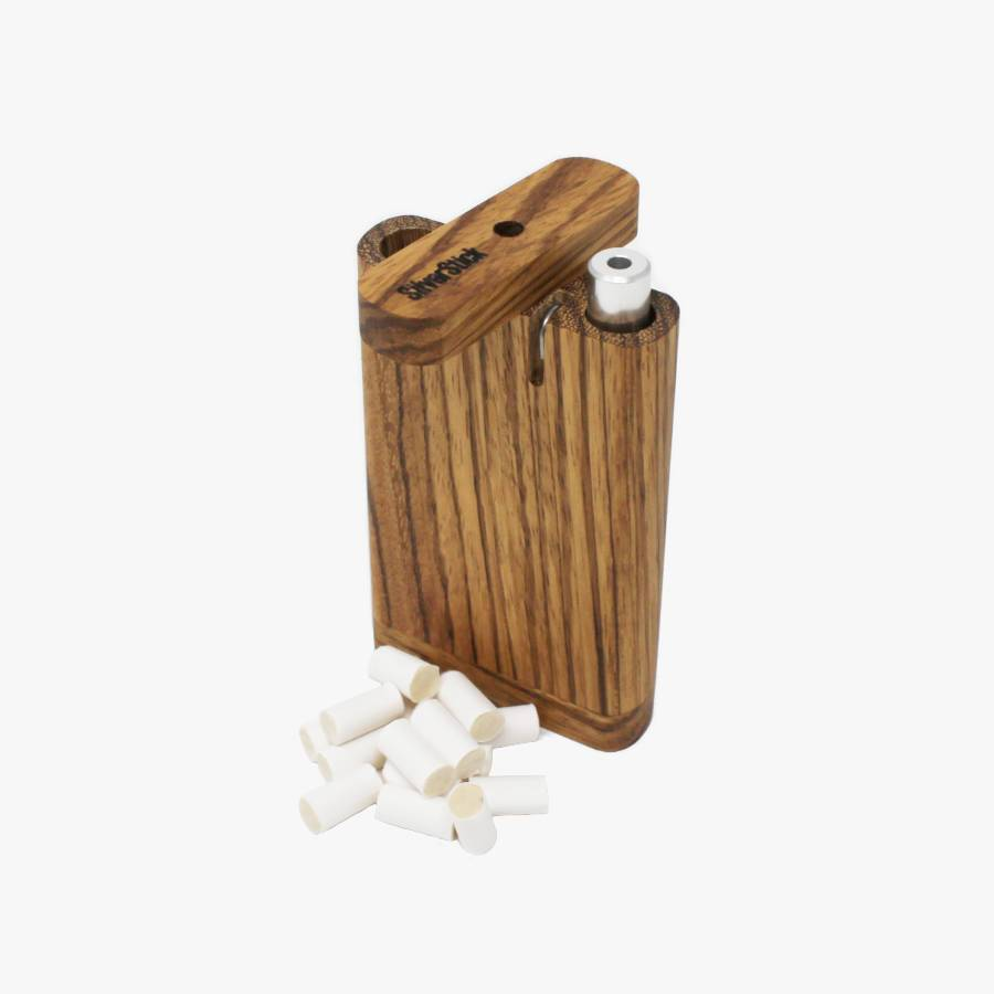 upright zebrawood tinderbox dugout for SilverStick metal one hitter taster pipe with a filter