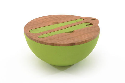 Bamboofibre covered bowl with 2pc Serving Set
