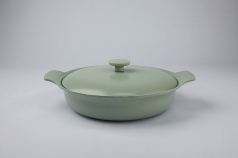 Ron 28cm Cast Iron Sauteuse with Lid in Sage
