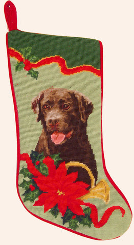 "Chocolate Labrador Retriever Dog Christmas Needlepoint Stocking - 11"" x 18"""