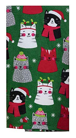 Christmas Kitties Allover Kitchen Towel - Dual Purpose Flat Weave Front and Terry Cloth Back