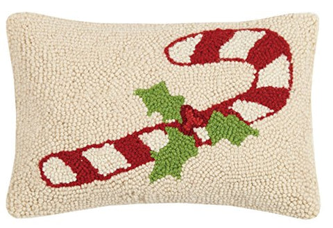"Candy Cane Holly Mini Christmas Wool Hooked Pillow - 8"" X 12"""