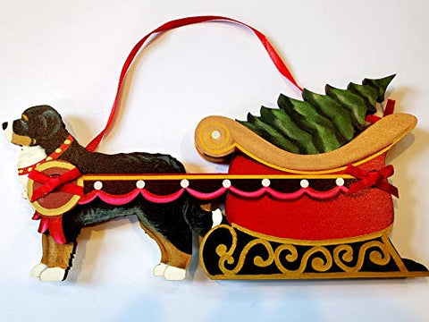Dandy Design Bernese Mountain Dog Sleigh Pull Wooden 3-Dimensional Christmas Ornament - USA Made.