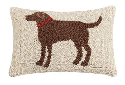 "Peking Handicraft Chocolate Labrador Dog Wool Hooked Pillow - 8"" x 12"""
