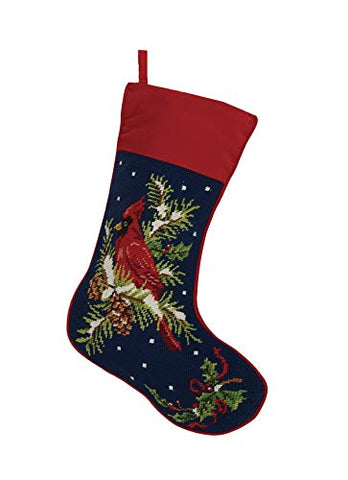 Winter Holiday Cardinal Christmas Needlepoint Stocking, 18-Inch Height, Wool and Cotton