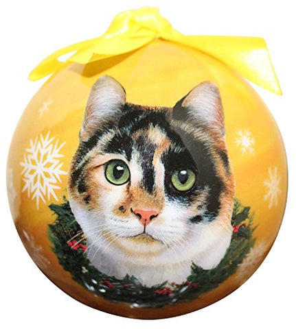 Calico Cat Christmas Ornament Shatterproof Snowflake Ball