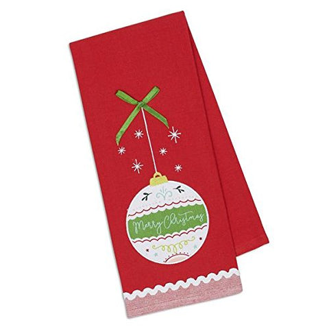"Design Imports Merry Christmas Embroidered Ornament Dish Towel - 18"" 28"""