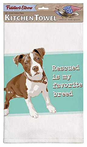Fiddler's Elbow Rescued Favorite Breed Dog Cotton Pique Dish Towel - Pit Bull