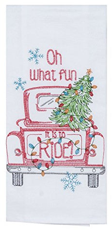 Holiday Red Pickup Truck Christmas Tree Embroidered Flour Sack Kitchen Towel