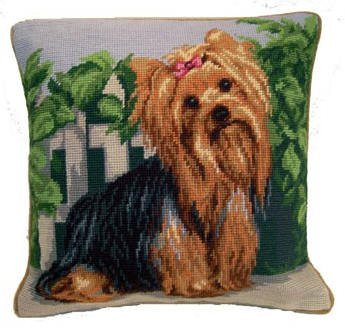 Yorkshire Terrier Yorkie Dog Portrait Needlepoint Pillow