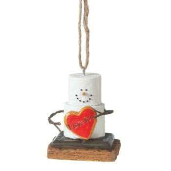 Love You Heart Marshmallow S'mores Christmas Ornament