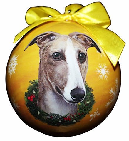 Greyhound Fawn Dog Snowflake Christmas Ornament Shatter Proof Ball - 3""