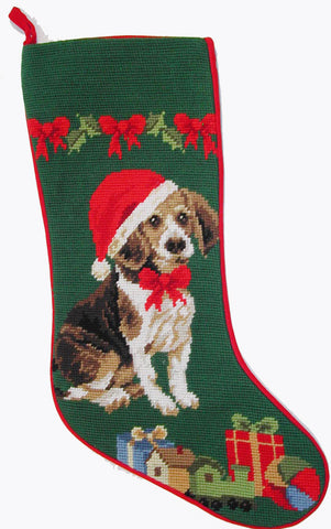 "Beagle Hound Dog Christmas Needlepoint Stocking - 11"" x 18"""