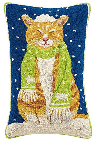 "Orange Tabby Snow Cat with Scarf Hooked Wool Pillow - 14"" x 22"""