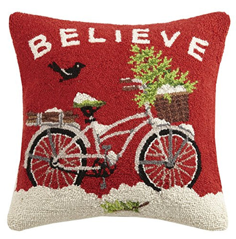 Peking Handicraft Believe Hook Wool Throw Pillow, Red