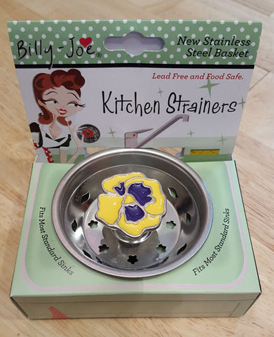 Enamel Yellow Pansy Stainless Steel Sink Strainer