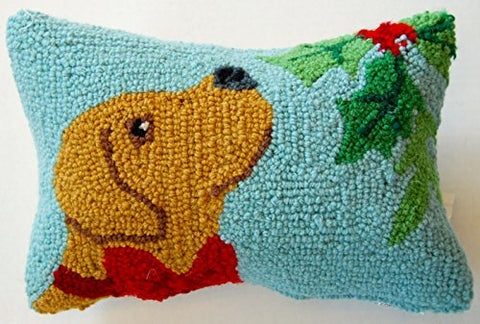 "Yellow Labrador Retriever Mistletoe Mini Hooked Pillow - 8"" x 12"""