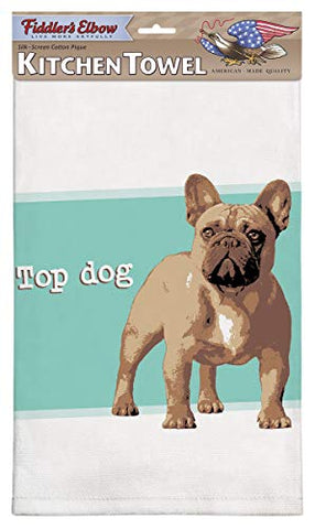 Fiddler's Elbow Top Dog French Bulldog Dog Kitchen Cotton Pique Dish Towel