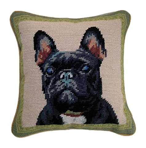 Black Frenchie French Bulldog Needlepoint Dog Pillow - 10""