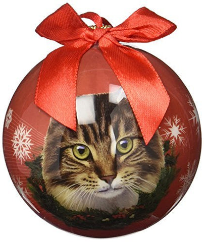 Maine Coon Cat Christmas Ornament Shatterproof Snowflake Ball