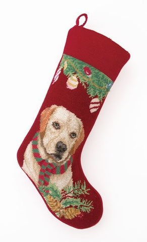 Yellow Labrador Retriever in Scarf Needlepoint Stocking