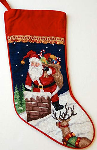 Santa Reindeer On The Chimney Roof Wool Needlepoint Christmas Stocking