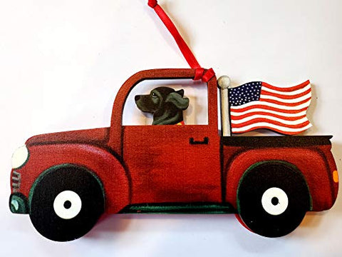 Dandy Design Black Labrador Retriever Dog Retro Flag Truck Wooden 3-Dimensional Christmas Ornament - USA Made.