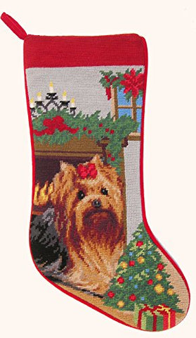 Yorkie Yorkshire Terrier Dog Needlepoint Christmas Stocking