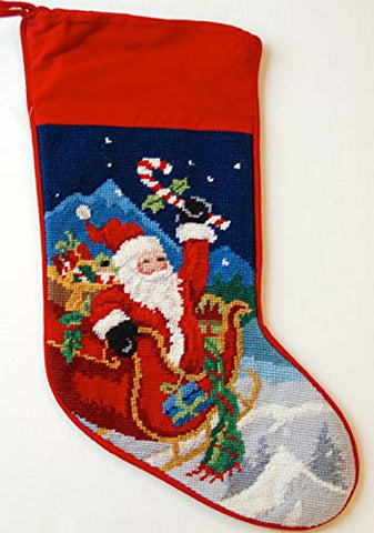 Festive Santa Red Sleigh Wool Needlepoint Christmas Stocking