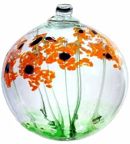 "Kitras Art Glass 2"" Blossom Ball ~ Orange Daisy Blossoms ~ Just Because"