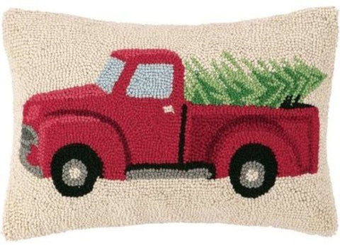 "Red Pickup Reindeer Truck Hauling Home the Tree Wool Hooked Throw Pillow - 14"" x 18"""