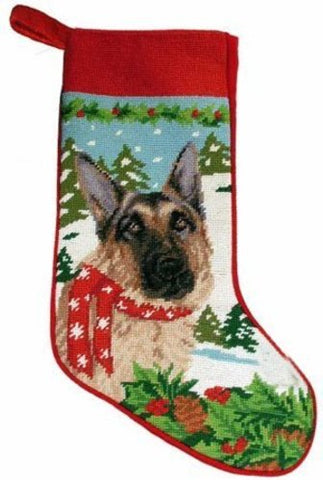 Festive German Shepherd Dog Needlepoint Christmas Stocking
