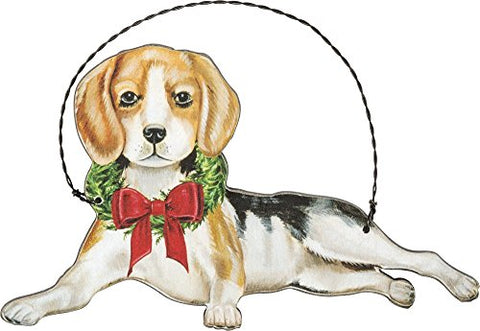 Beagle Hound Dog Hanging Christmas Wooden Ornament